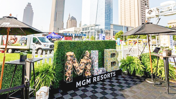 MGM Resorts event custom acrylic sign with big 3d letters filled with various objects