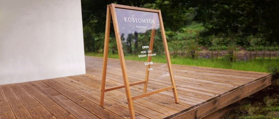 KOBEOMSUK a-frame stand from clear acryl