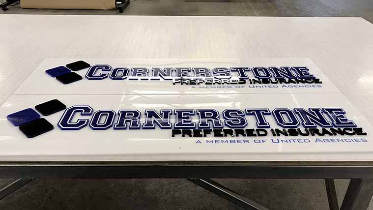 Custom Acrylic Business Sign for our customers at Cornerstone
