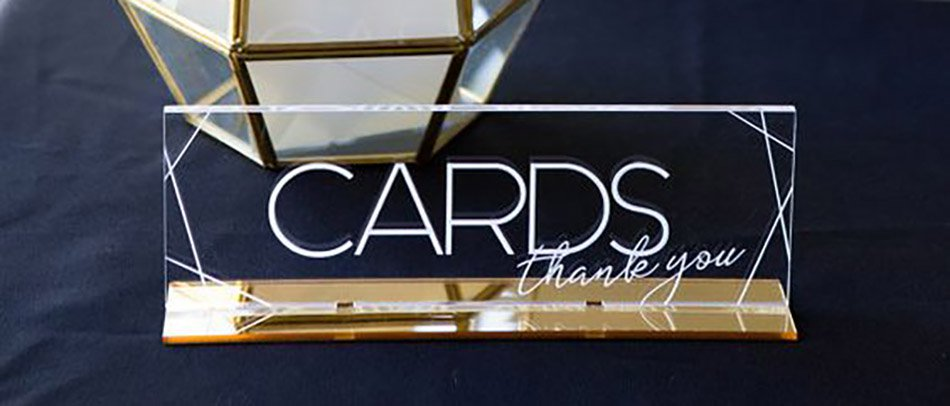 CARDS acrylic tabletop sign