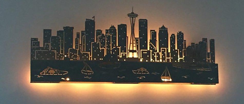 acrylic laser cut backlit lamp on wall