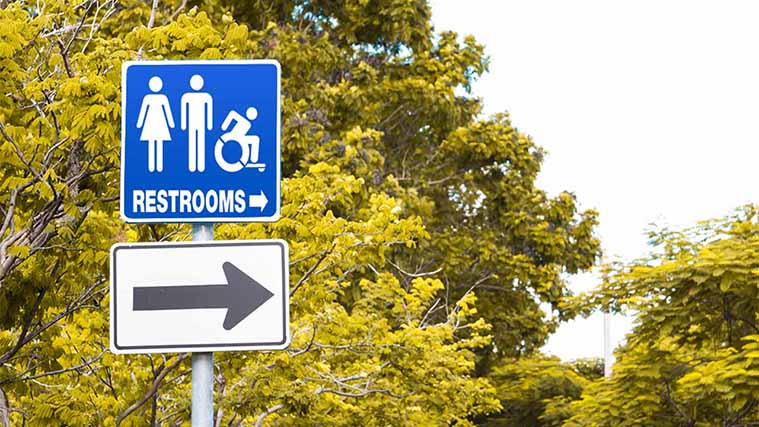 Aluminum Street Directional Sign showing the location of restrooms