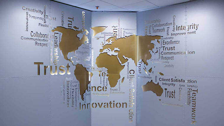 Aluminum Interior Sign with the Map of the World