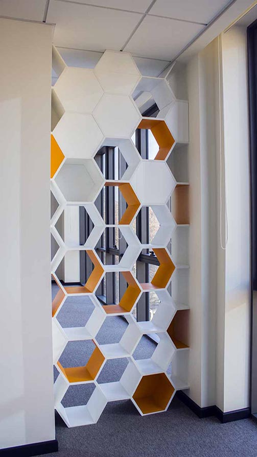 Beautiful Wooden Office Signs in a shape of a Honeycomb