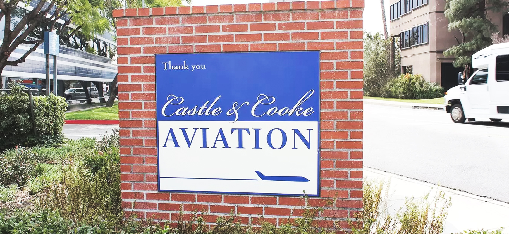 Castle & Cooke Aviation pylon sign design in blue and white colors made of PVC