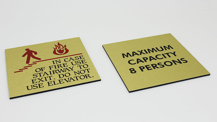 Golden Dibond Safety Sign with Brushed finish