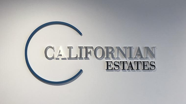 Californian Estate 3D Signs for interior Wall Artwork