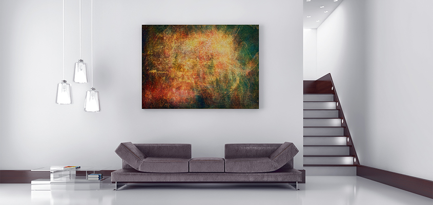 Wall-mounted canvas example inside a living room