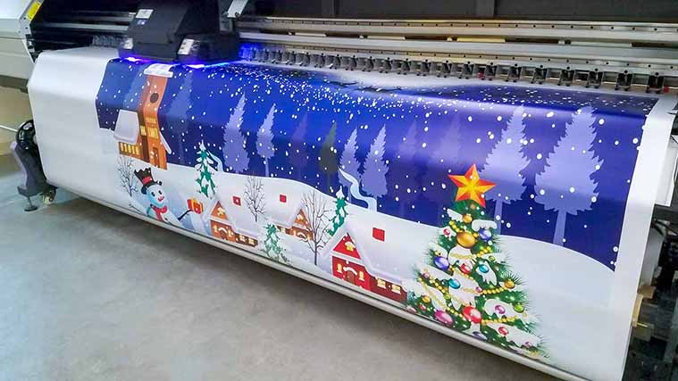 Christmas themed Custom Vinyl Banner printing process