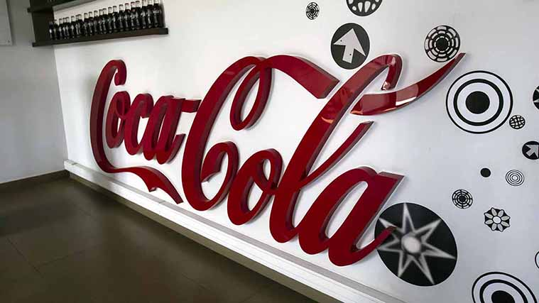 Custom Acrylic 3D Letters with the Coca-Cola logo
