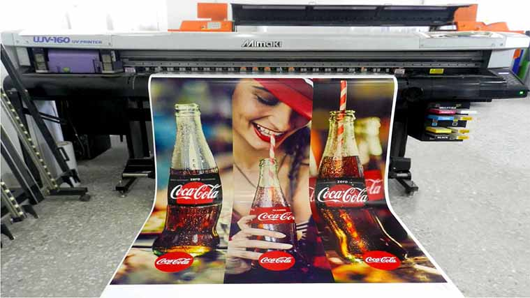The printing process of an Opaque Vinyl Decal for Coca-Cola