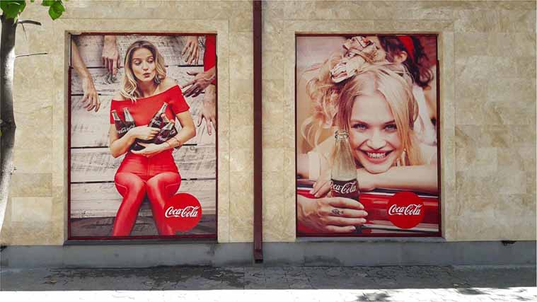 Printed Opaque Vinyl Decals for Coca-Cola fixed on windows