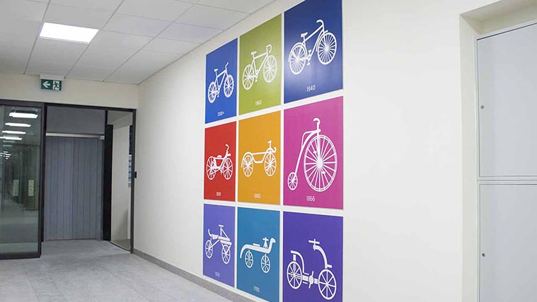 Colorful PVC Signs for an Office Interior Wall design