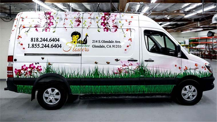 Custom Vehicle Wrapping on the van of a flower salon