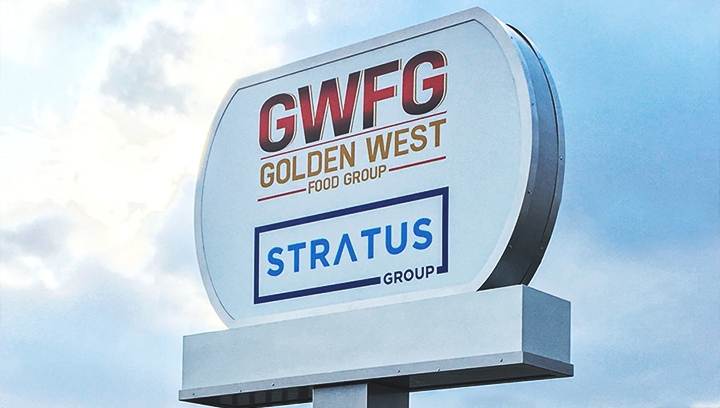 Stratus Group covered-pole plaza signage with the brand name made of aluminum and acrylic