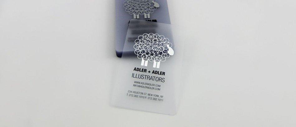 ADLER + ADLER frosted acrylic business card