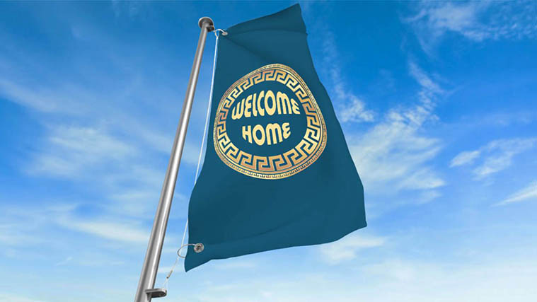 "Custom Printed ""Welcome home"" high-quality Fabric Flag"