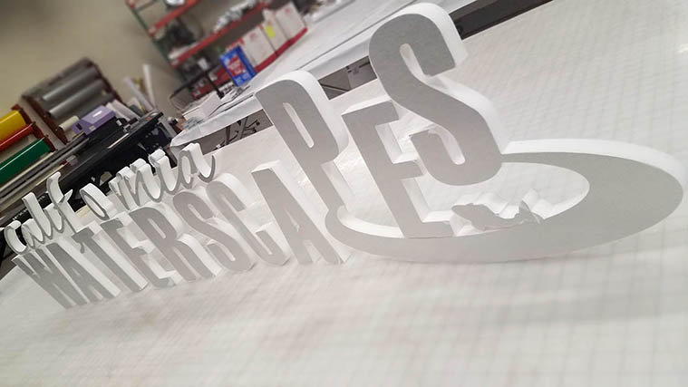 Custom-made Foamboard Letters for the name of the brand