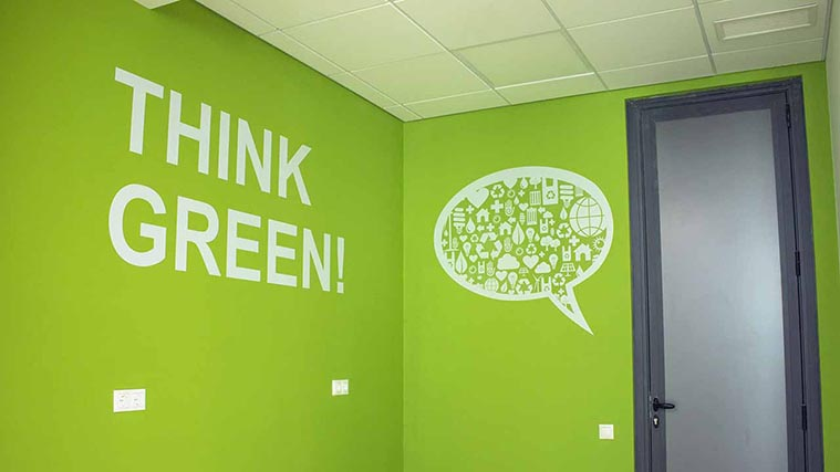 Think Green Wall Decals for an office decoration
