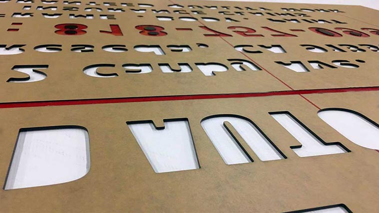 Cut-through acrylic letters