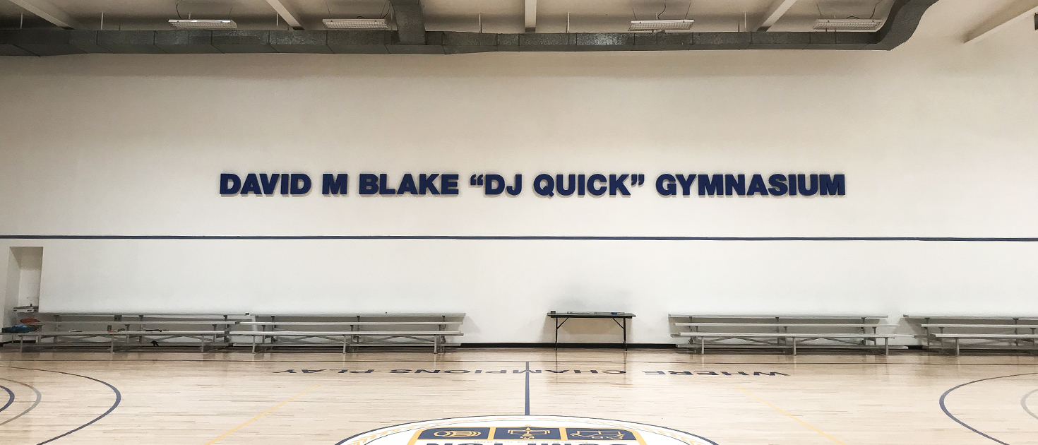 David Blake Gymnasium interior sign