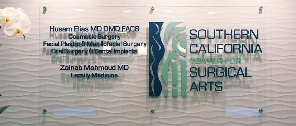 Surgical arts name plate on clear acryl - Front Signs