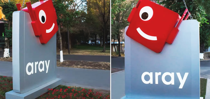 Aray outdoor advertising made from eco-friendly dibond material