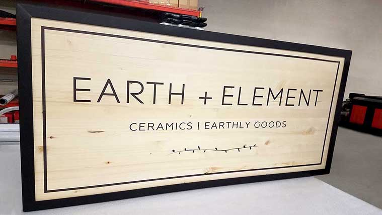 Elegant Plywood Sign with the information Directly Printed on it