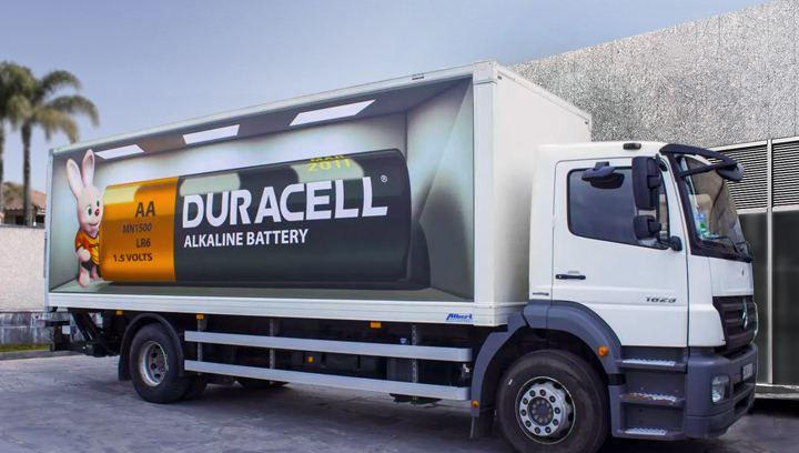 Duracell truck wrap with branded graphics made of opaque vinyl
