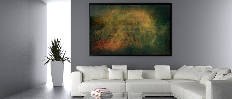 green printed canva for interior decorating on wall