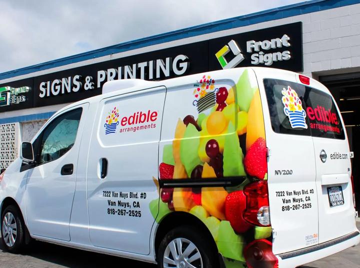 Edible Arrangements partial vehicle branding with food graphics made of opaque vinyl
