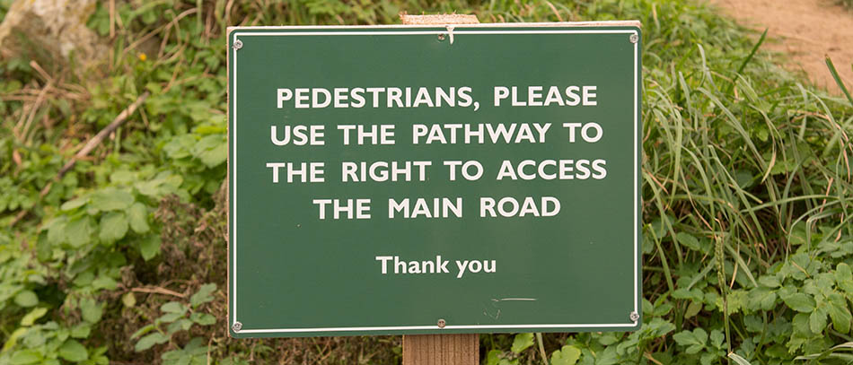 pathway signboard with white letters from aluminum material