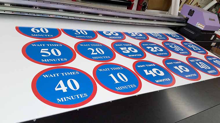 Direct Printing numerous Street Signs on a Gatorboard