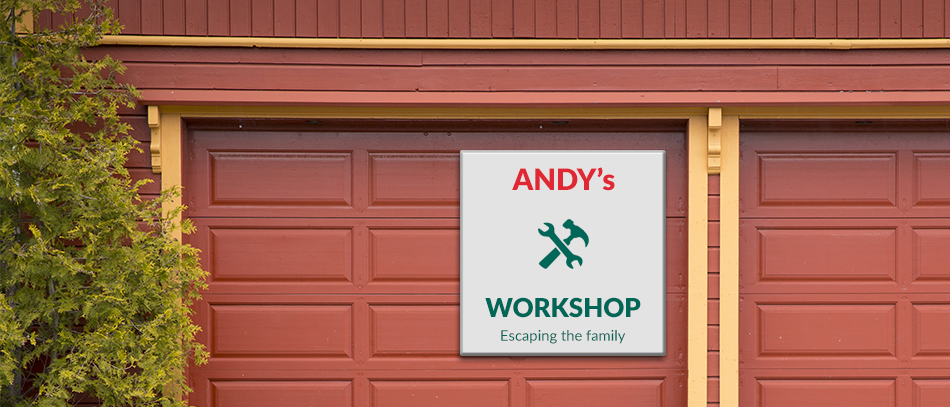 andy's workshop acrylic sign