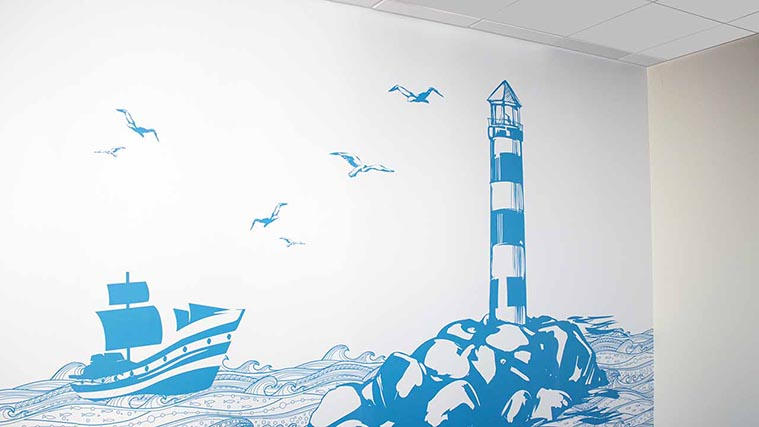 Blue Watch Tower Wall Decals for an Office Interior Branding