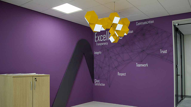 Purple office Room with modern branding solutions