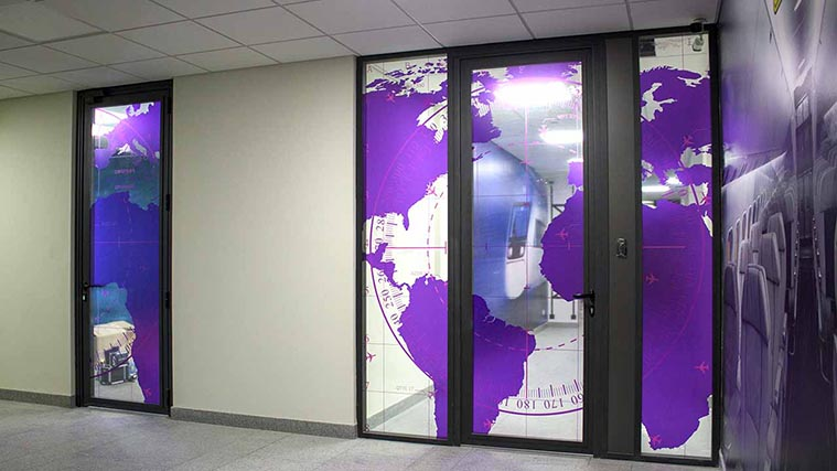 Customized Map of the World Window Decals for an office interior decor