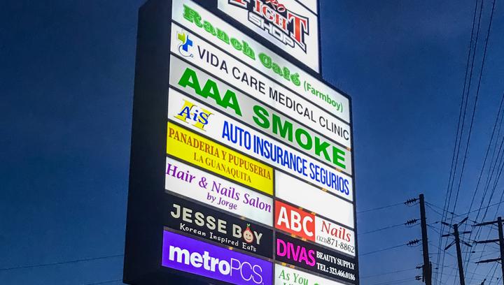 LED illuminated plaza sign