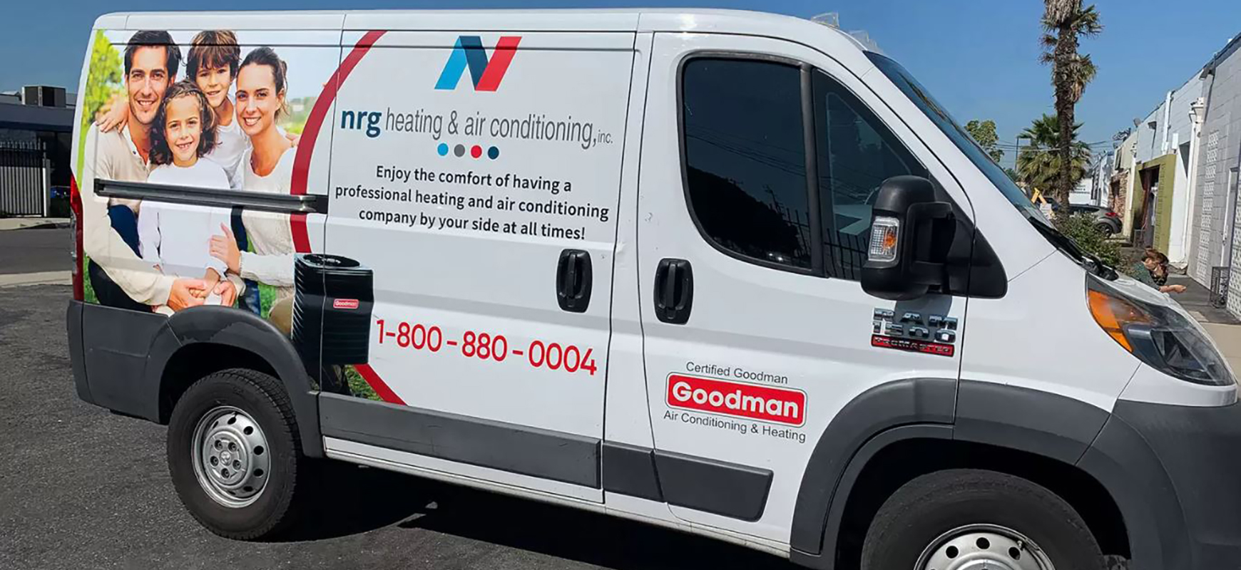 NRG van wrap in a promotional style made of opaque vinyl