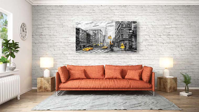 Painting of New York City scenery Printed on a Canvas Sign