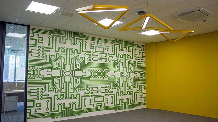Personalized Green PVC Accent Wall for an office Decor
