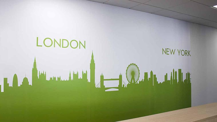 Wall Decals with City Graphics created for interior decoration