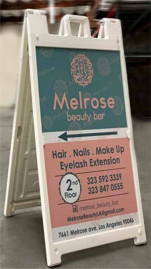 Directional A-frame Sign Printed on a PVC for a beauty salon