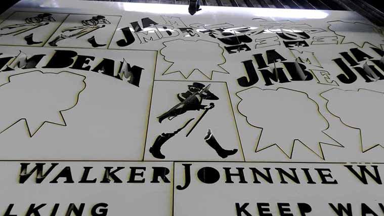 The Laser Cutting process of a custom-made PVC Sign