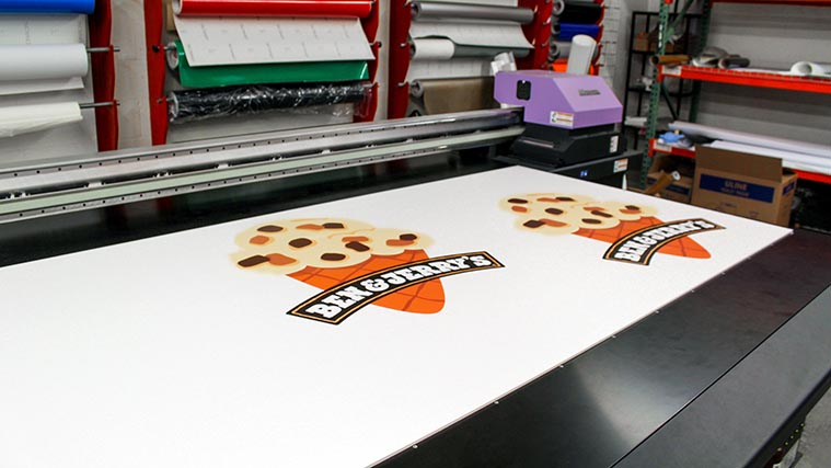 Logo of Ben and Jerry's printed on a PVC board
