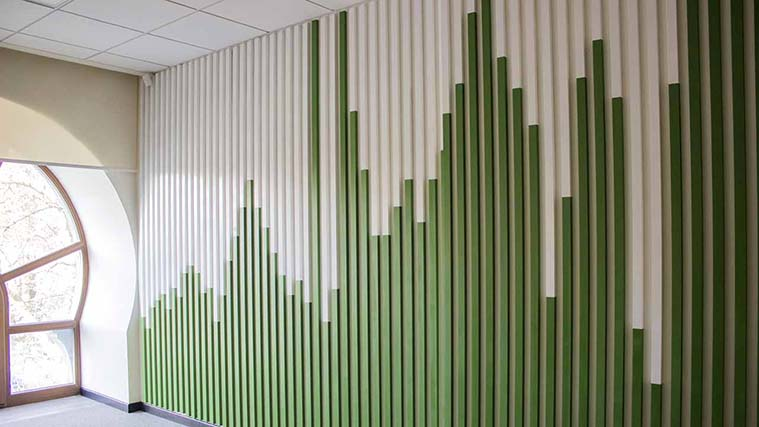 Painted Wooden Accent Skyline Wall for interior branding