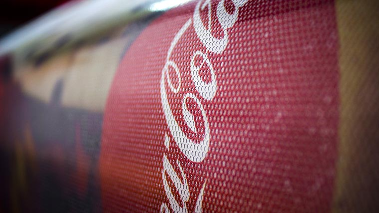 Close look to the Perforated Vinyl Decal printed for Coca-Cola