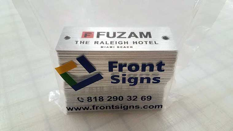 Pile of Hotel Aluminum Signs for our partner Fuzam The Raleigh Hotel