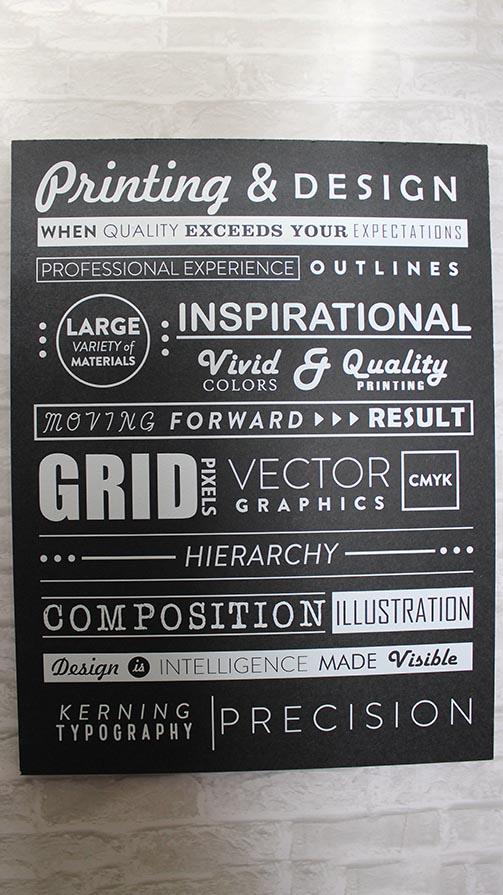 Printed gatorboard sample