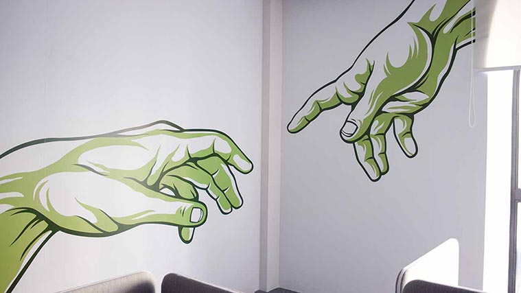 Printed vinyl wall decal